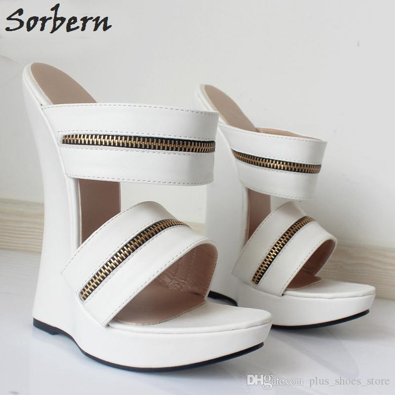 Sorbern New Arrive Women Sandals Dress Shoes Ultra 18Cm High Heel Slippers Woman Platform Wedges Sexy Feith Shoes Pumps Woman Slip-on
