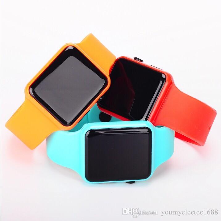 Männer Frauen Led Digital Datum Rechteck Zifferblatt Faux Lederband Elektronik Armbanduhr Starke Verpackung Herrenuhren Digitale Uhren