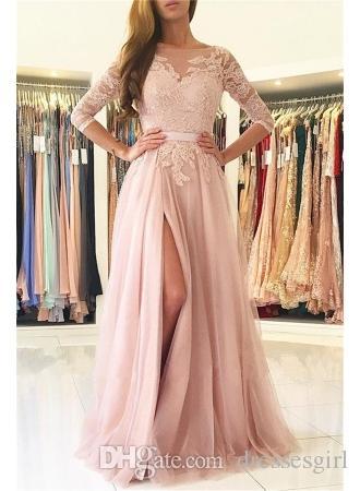 Blush Pink Side Slit Vestidos de fiesta de noche Elegantes medias mangas Apliques de encaje Vestidos largos de fiesta de tul Vestidos de fiesta a medida baratos