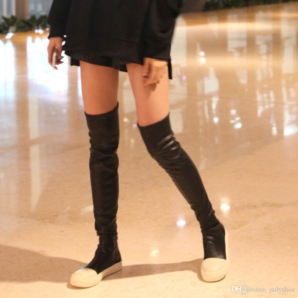 Streç sonbahar kış diz çizmeler kadın üzerinde siyah haki kalın beyaz alt düz platform ayakkabılar uyluk yüksek çizmeler uzun çizmeler