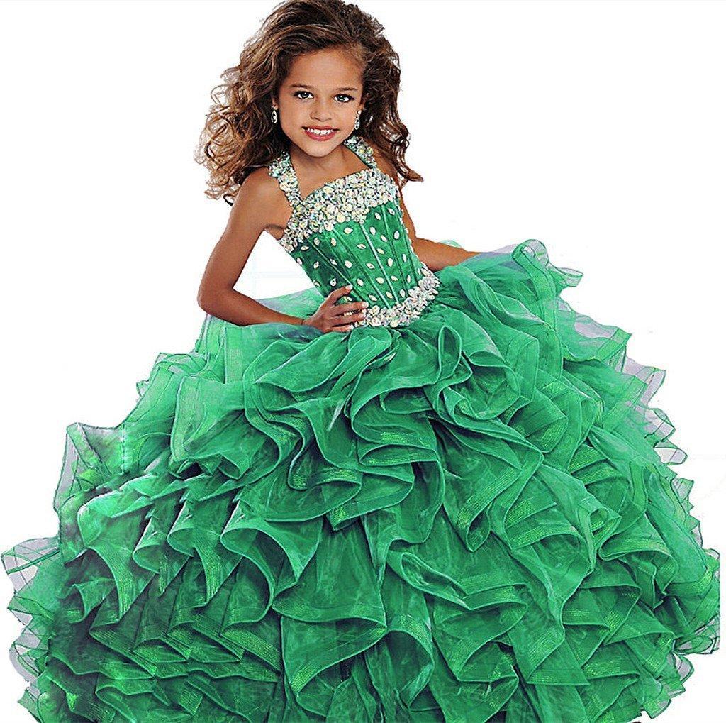 2019 Petites filles Pageant Robe Robe De Bal Longue Turquoise Organza Cristaux À Volants Fleur Filles Fête D'anniversaire Robes Pour Junior Vert