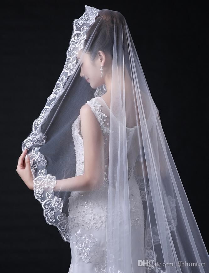 Long Wedding Veil Exquisite Cheap Bridal Veil One Layer Lace Edge Cathedral Length Beads Bridal Veil Wedding AccessoriesHT71