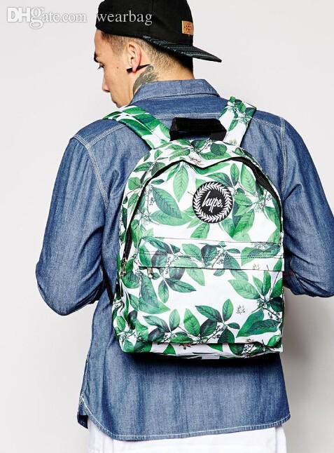 Wholesale-2015 Tide Brand Hype Backpack London Fresh Flowers Green ... 0c4be8f681586