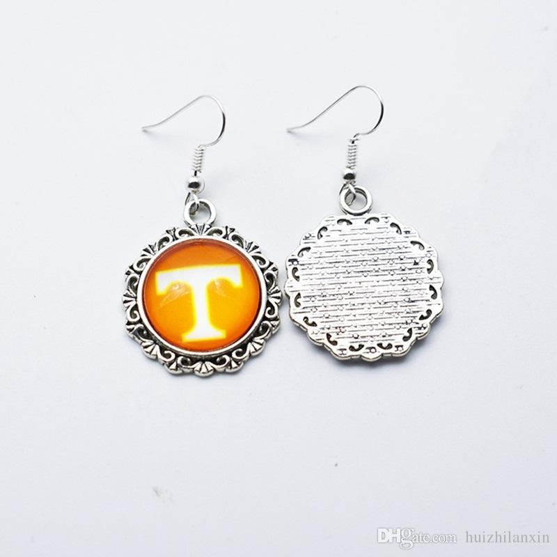 Fascino Squadra sportiva NCAA Tennessee Volunteers 18mm Orecchini a bottone in vetro / Orecchini pendenti regalo di gioielli da donna