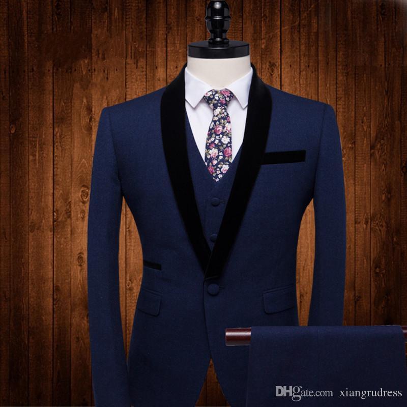 Custom made three pieces groom tuxedos best slim fit wedding suits for men Groom Groomsmen Tuxedos mens wedding suits Jacket+Pant+Vest