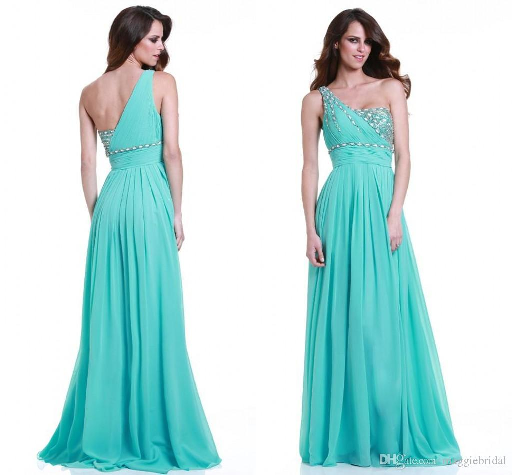 Charming Chiffon One Shoulder Turquoise Blue Bridesmaid Dresses A ...