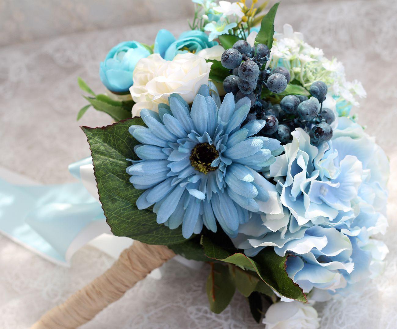 Light Sky Blue Bridal Bouquets Bridal Wedding Bouquets Wedding ...