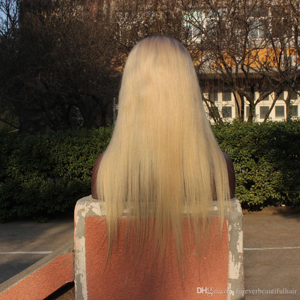 Ombre Full Lace Perruques Dark root 100% Humain Remy Cheveux Avant de Lacet Perruque