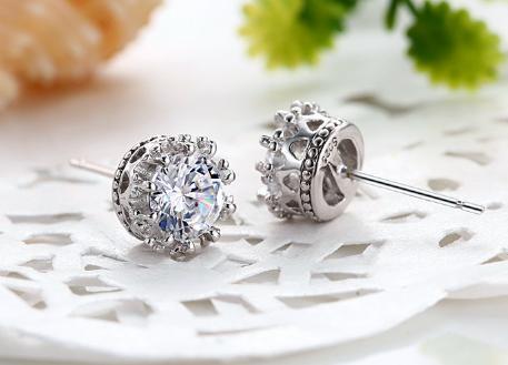 925 серебряная корона серьги, горный хрусталь, мода стиль, маленькие ювелирные изделия из стерлингового серебра для женщин, бесплатная доставка и высокое качество
