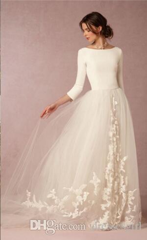 겸손한 보헤미안 공주 스타일 우아한 신부 가운 긴 소매 BHLDN 비치 Boho 웨딩 드레스 국가 레트로 신부들에게