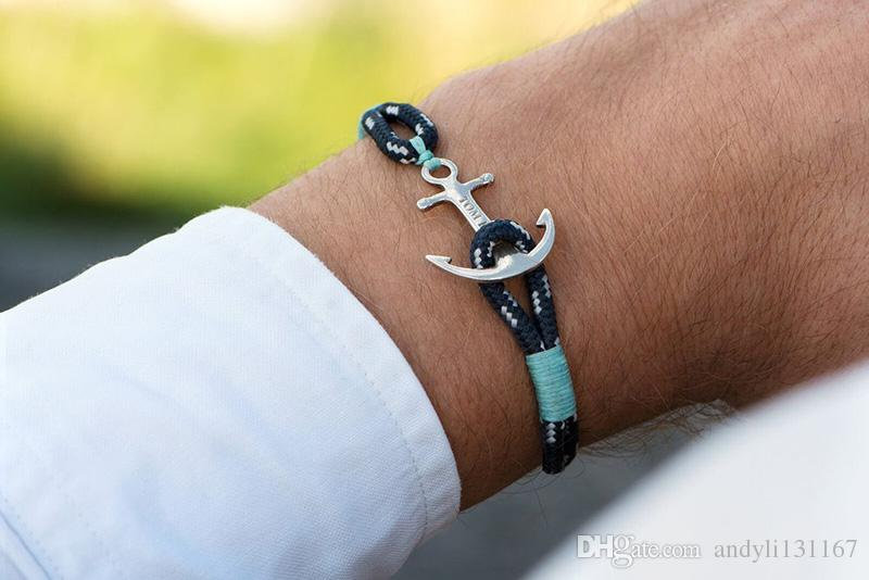 Stainless Steel Anchor ice blue Rope Chain Handmade Charm Bracelet Jewelry Tom Hope Bracelet with box and tag TH4