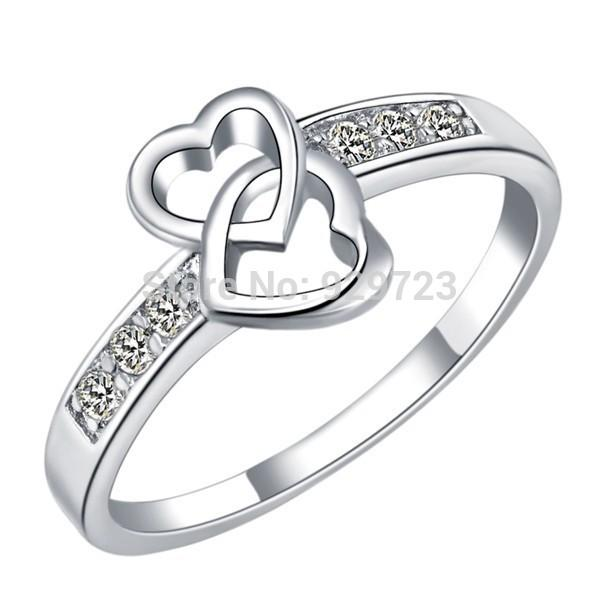 Hot Sale Two Heart Rings for Women Love Bezel with Stones