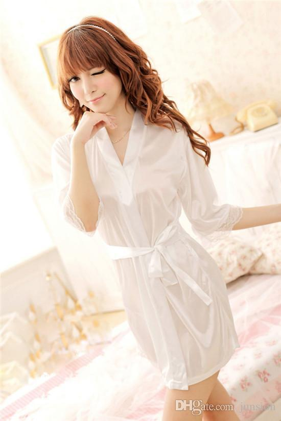 Women Bathrobe 2016 Women's Sleepwear Sexy Lace Lingerie Lady Silk Shirt Blossom Night Gown Pajamas Sleep Wear For Open Crotch Vintage Under