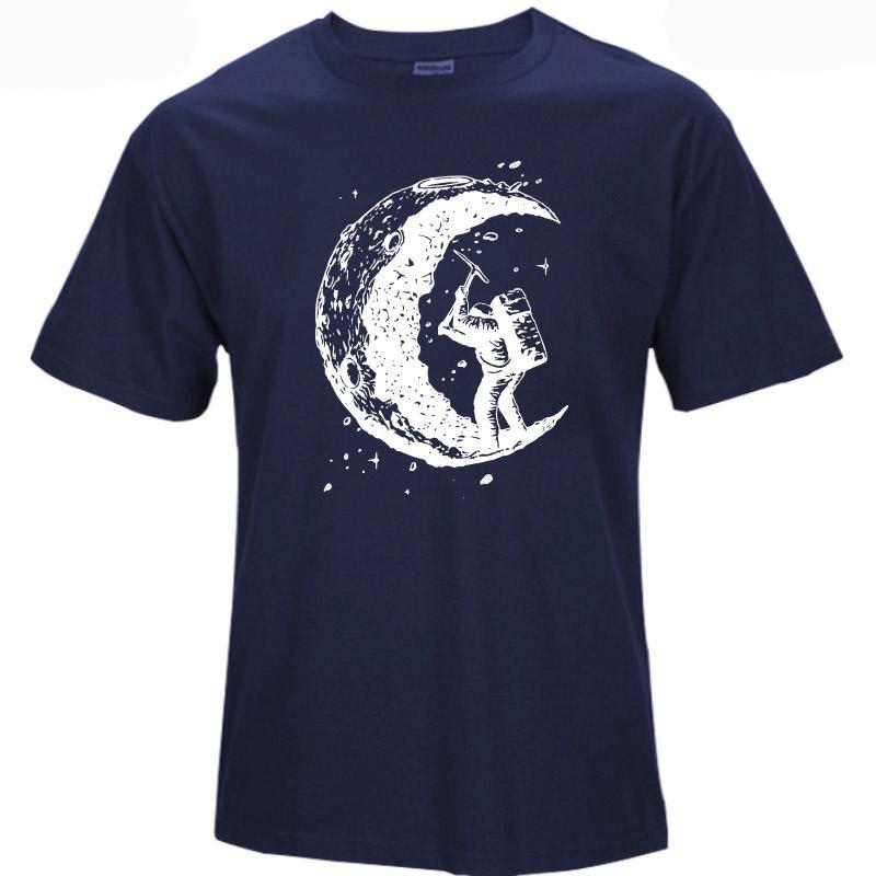 100% algodón cavando la luna impresión casual para hombre o-cuello camisetas moda hombres tops hombres camiseta manga corta hombres camiseta 2018