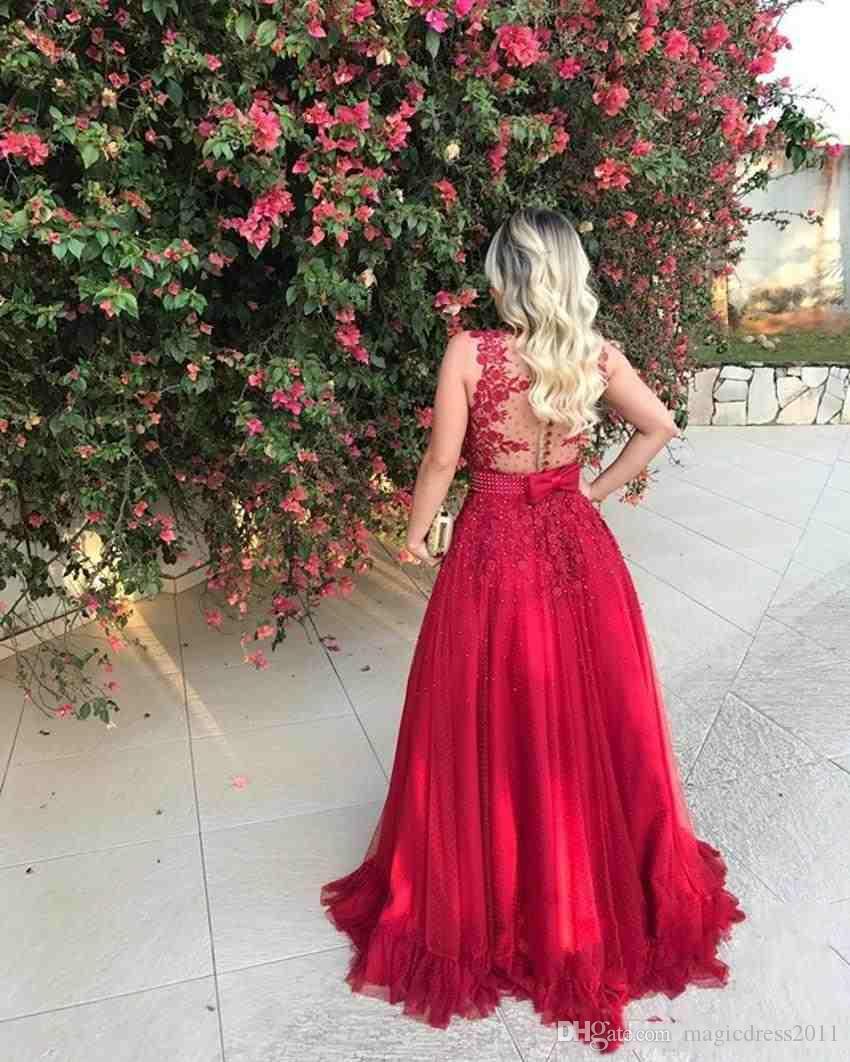 Вечерние платья Вечерние платья А-силуэта красного цвета Пуговицы с длинными рукавами и бисером Тюль Формальные платья для выпускного вечера Vestido De Noche