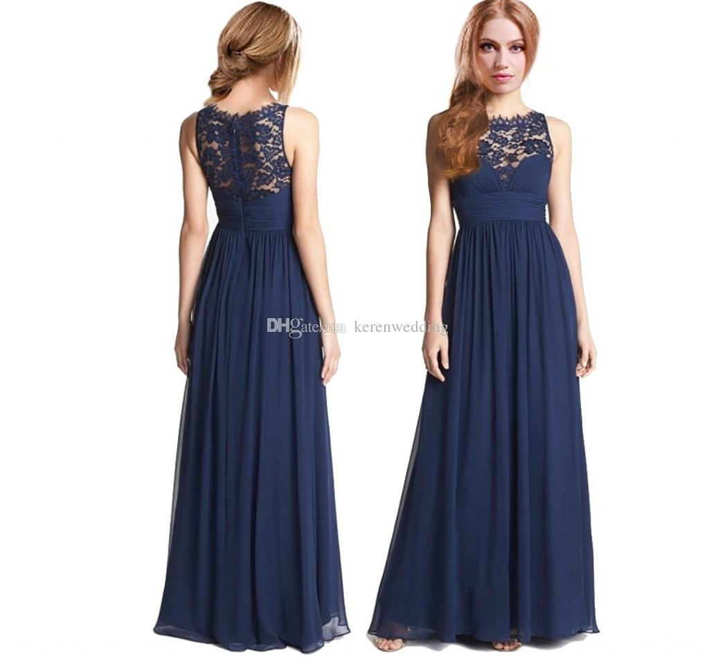 Navy blue chiffon junior girls bridesmaid dresses with lace jewel navy blue chiffon junior girls bridesmaid dresses with lace jewel neck ruffle chiffon zipper floor length long party dress 2015 cgl401 junior bridesmaid ombrellifo Choice Image