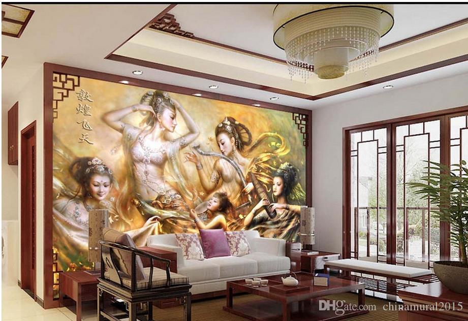 Çocuklar için duvar kağıtları ev dekor HD Dunhuang renk oyma modern oturma odası duvar kağıtları