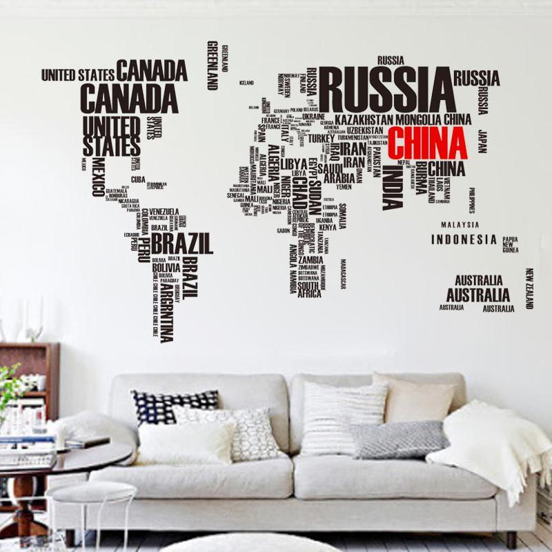 Charming Free Shipping Creative Alphabetical Large World Map Wall Sticker Living Room  Sofa Backdrop Office Den