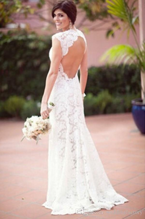 Sexy Backless Wedding Dresses Sheath Open Back Garden Bridal Gowns Beach Wedding Party Sweetheart Neckline Cap Sleeves Custom Made