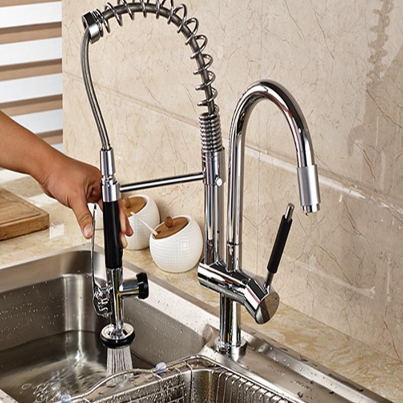 Online Cheap Luxury Chrome Brass Kitchen Faucet Dual Sprayer ...