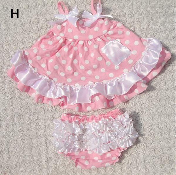 2015 Summer New Baby Girls Clothes Lovely Romper Suspender Tops+Briefs Set Infant Kids Wave Pattern Ruffles Flower Tutu Romper