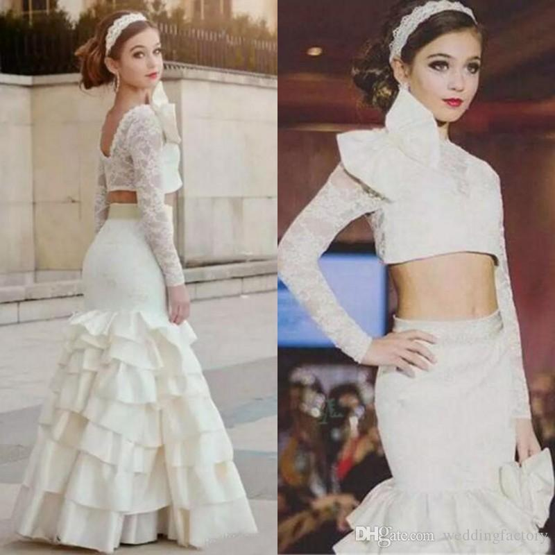 de0779066be Long Formal Two Pieces Girls Pageant Dresses For Teens Jewel Neck Illusion  Sleeves Lace Crop Top Tiered Skirt Girls Party Gown Puffy Flower Girl  Dresses ...