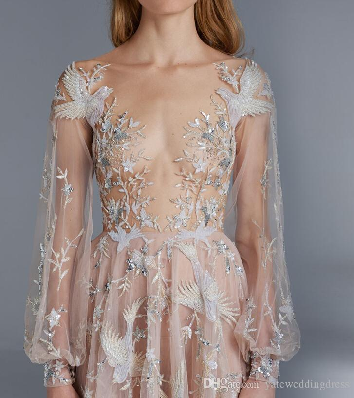 Paolo Sebastian Prom Dresses Sexy See Through Long Sleeves A Line Tulle Flower Bird Appliques Formal Dress Celebrity Dress For Red Carp