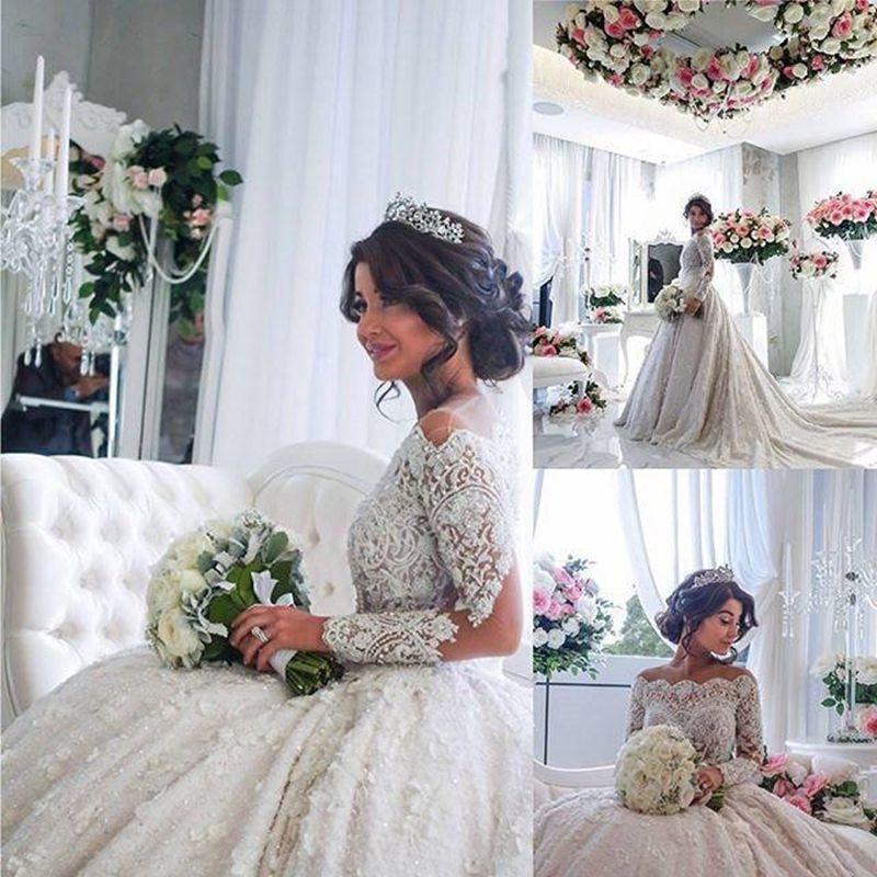 Romantische Ballkleid Brautkleider Langarm Spitze Brautkleider Kleid 2016 Vestido De Noiva Princesa Luxus Ballkleid Kleid