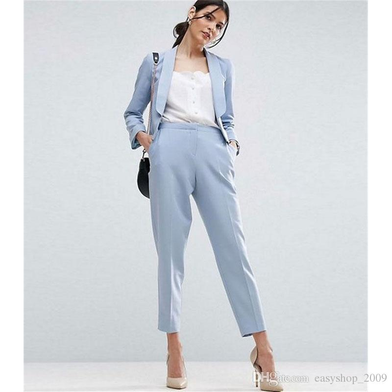 2018 Light Sky Blue Women Business Suits Formal Office Suits Work Ladies Trouser Suit Jacket ...