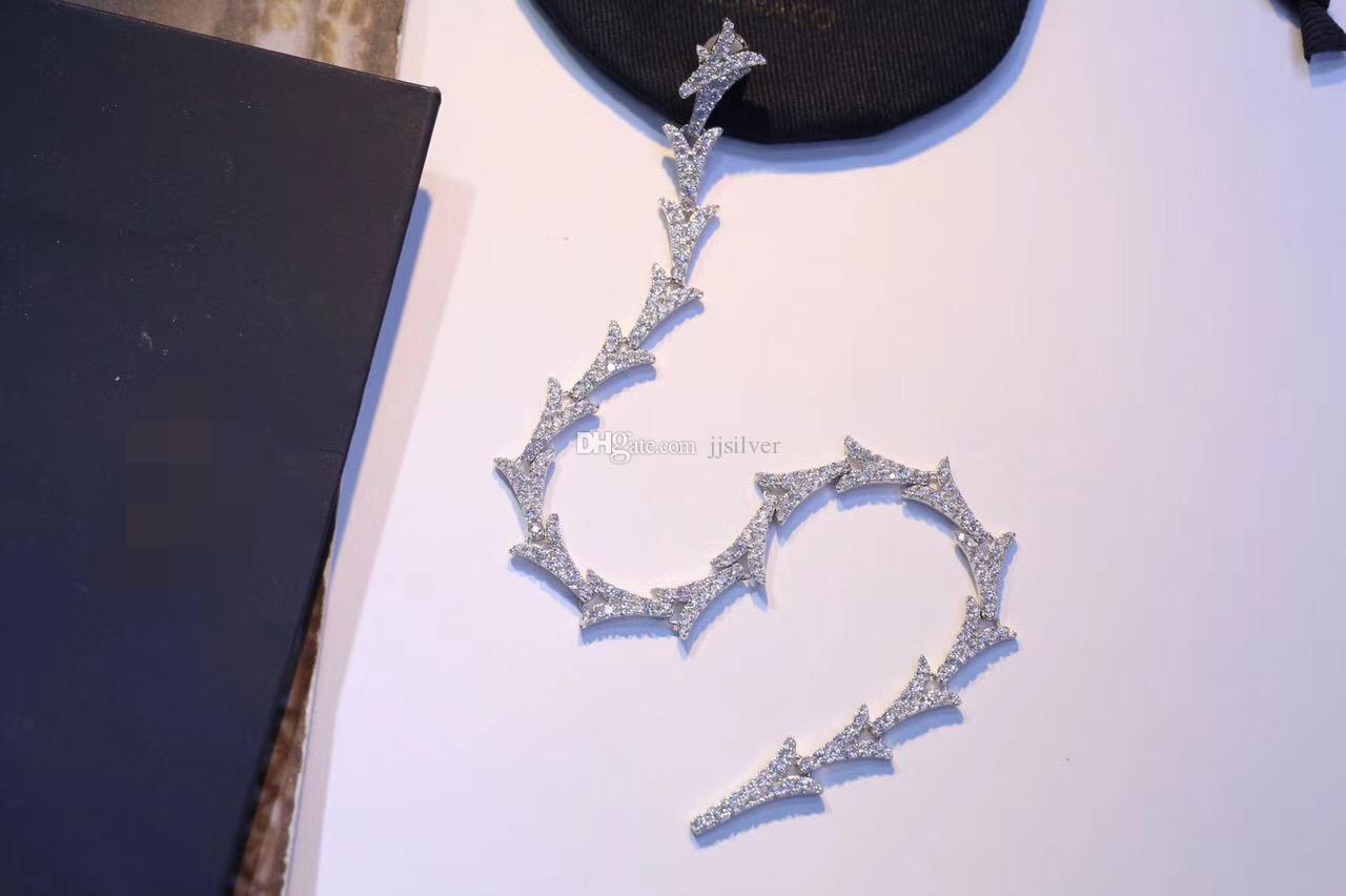 ترف 925 فضة دارت السهم أقراط معلقة إسقاط الخواتم الأزياء والمجوهرات النساء مايكرو تمهيد الزركون خط طويل سلسلة استرخى أقراط