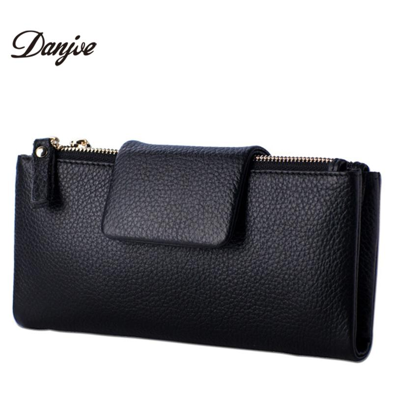 5bb4cb8f5124 Wholesale DANJUE Genuine Leather Women Wallets Long Style Clutches Phone Bag  Fashion Purse Female Waterproof Money Bag Zipper Women Purse Handmade  Leather ...