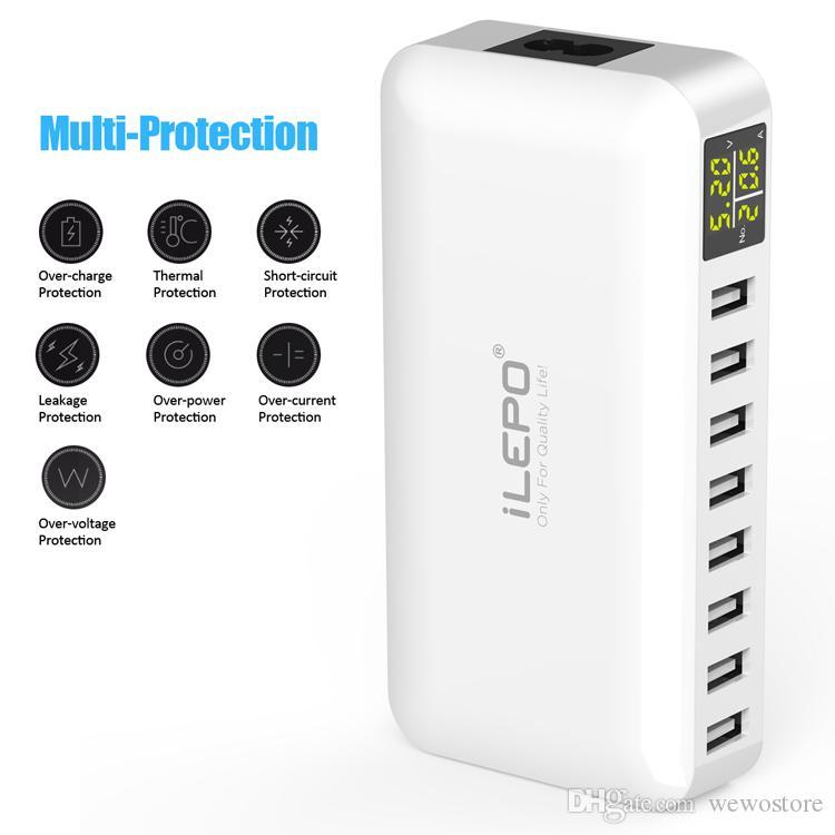 iLEPO intelligent 8 ports USB Chargeur UK US EU Plug Chargeur Portable mur station de recharge rapide avec affichage LED pour téléphone portable Retail-Box