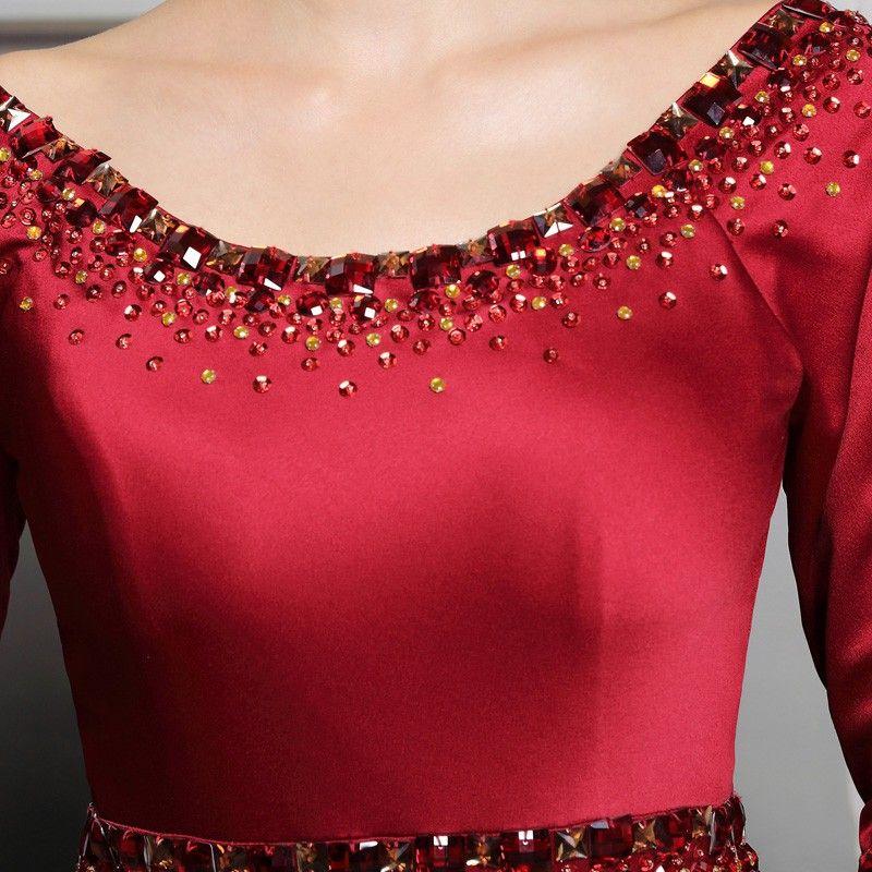 Высокое качество линия совок длина пола эластичный Половина рукава вечерние платья с Кристалл vestidos де феста vestido longo женщин платья