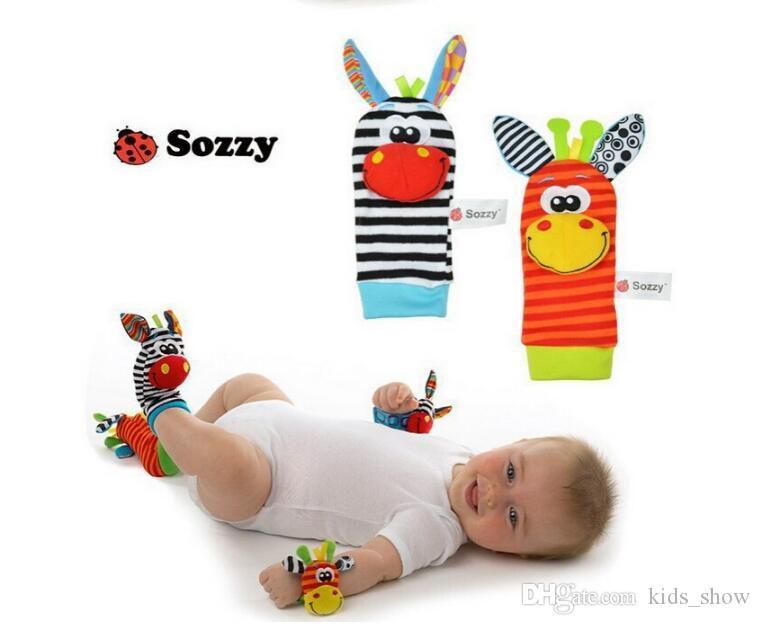 Chegada nova sozzy Chocalho De pulso chocalho localizador Brinquedos do bebê Do Bebê Chocalho Meias Lamaze Plush Pulso Chocalho Pé Meias bebê