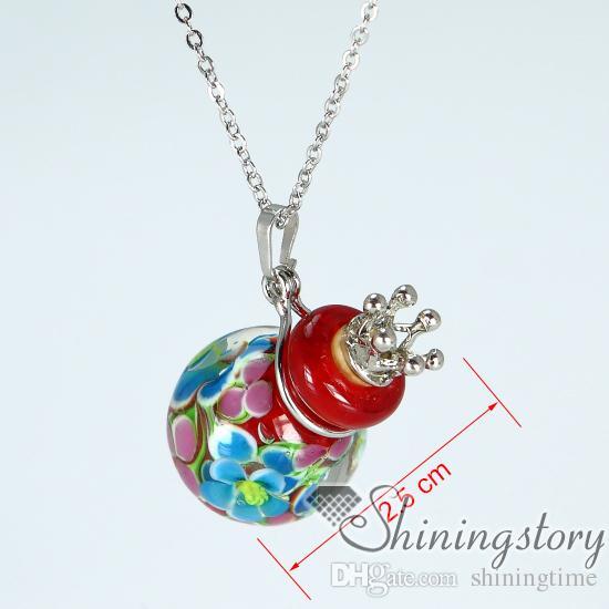 мяч диффузор Locket венецианские стекла ароматерапия диффузор кулон ожерелье Эфирное масло ожерелье оптовой ароматерапия ожерелья духи