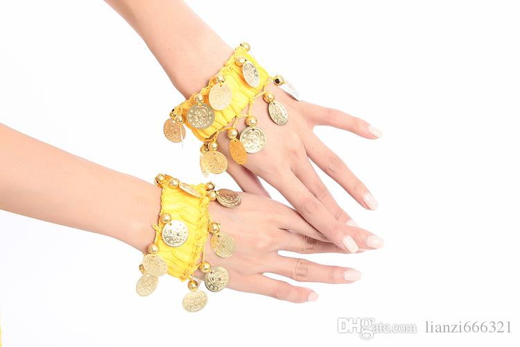 Belly Dance Costume Wrist Arm Ankle Cuff Coin Beautiful Bracelets Belly Dance Bracelets Belly Dance Accessory 12 colour
