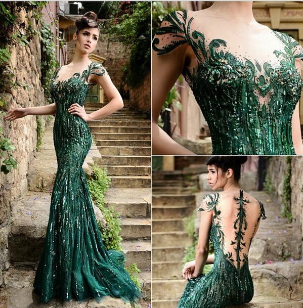 Sequin Green Prom Dresses 2015