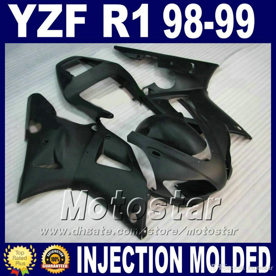 carénage noir mat pour carénage YAMAHA R1 1998 ensemble de carrosserie modèle 1999 1999 98 kit de carénage yzf r1 kit pièces de carrosserie V2DU