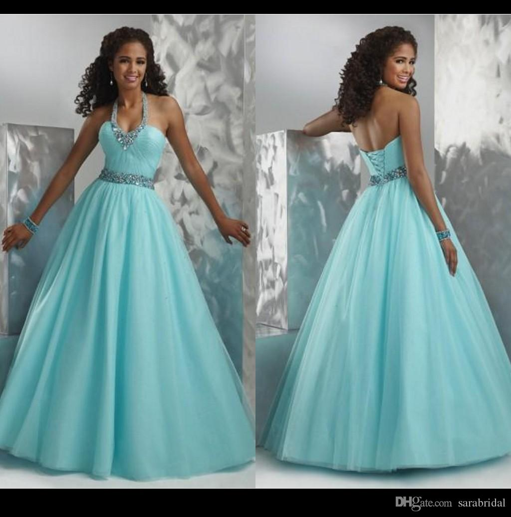 Vintage Light Blue Prom Dress Party Gown Halter Beaded Puffy Skirt ...