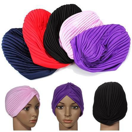 신축성있는 Turban 헤드 랩 밴드 수면 모자 Chemo Bandana Hijab Pleated Cap 큰 새틴 보닛 터번