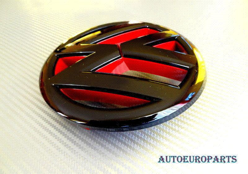 Devil Style Gloss Black Red Front Grill Badge Emblem For
