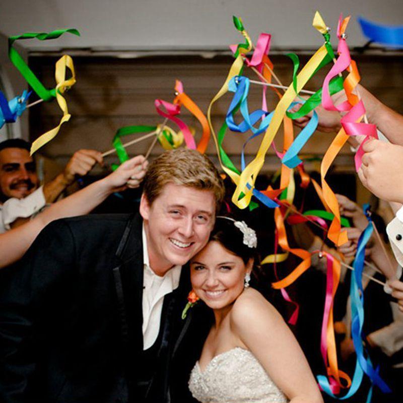 Wedding Ribbon Stick Mixed Color Ribbon Fairy Wands Wedding Favors ...