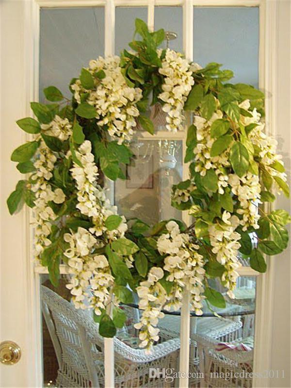 Romântico Flores Artificiais Simulação Wisteria Vine Decorações de Casamento Longo Curto Planta De Seda Bouquet Room Office Jardim Acessórios Para Noivas