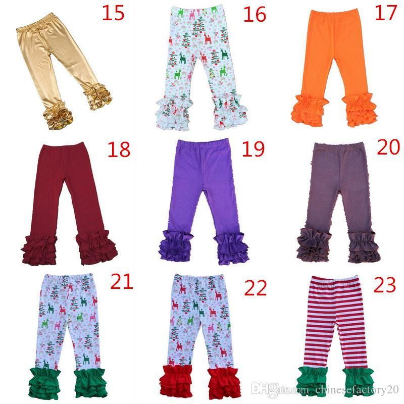 es Acción de gracias Halloween Navidad Pantalones de volantes estampados sólidos Leggings de rayas Baby Hirls Pantalones largos Pantalones cálidos