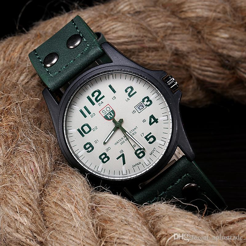 New SOKI fashion man Millitary watch Outdoor quartz watches High quality PU Leather strap Wrist watch