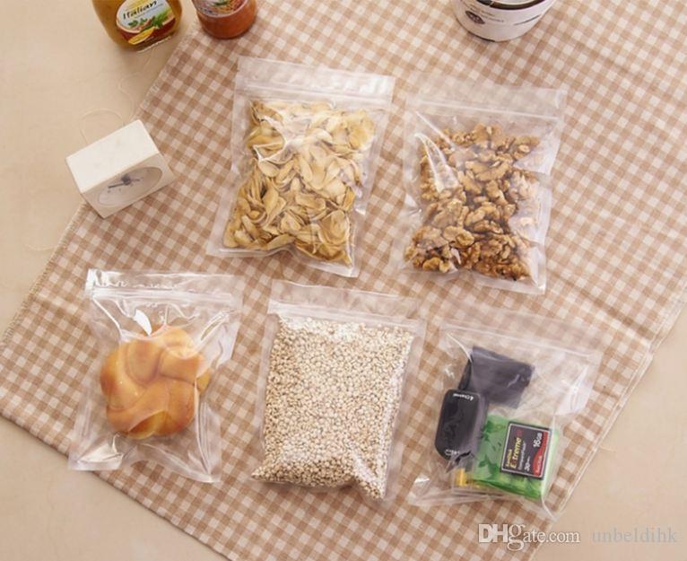 Ücretsiz kargo 9x13 cm Şeffaf gıda Plastik fermuar kilit Kendinden sızdırmazlık Ml Çantası / Ambalaj / Depolama / Zip Kilit 100 adet / grup