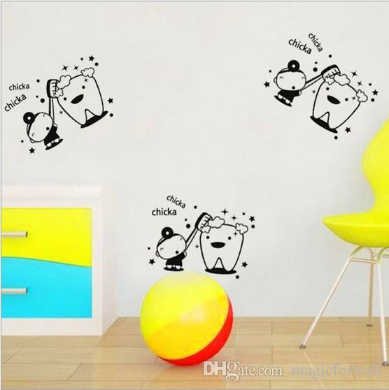 Chicka Chicka Escova Seus DENTES PVC Removível Do Banheiro Decalque Art DIY Adesivo De Parede Decoração de Casa Decoração de Casa Instantânea Adesivo de Parede decalque