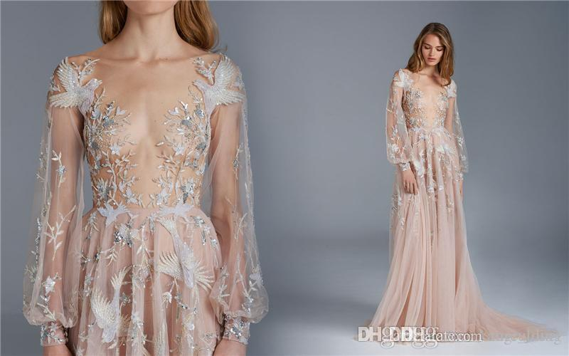 Paolo Sebastian Prom Dresses Sheer Plunging Neck Long Sleeves Dresses Party Evening With Beaded Sequins Applique Floor Length Party Dresses
