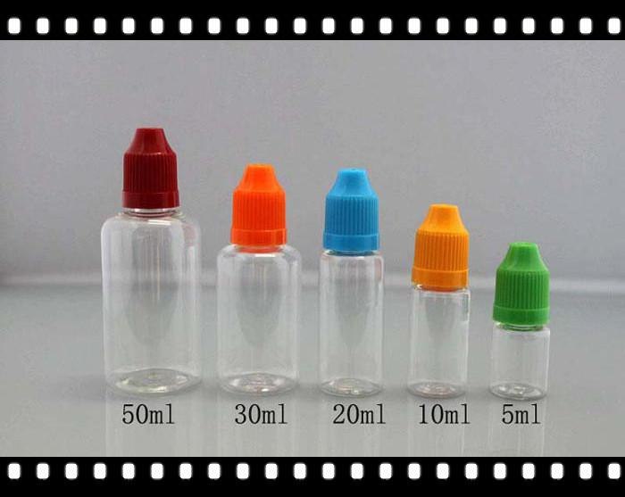 Vide PET transparent E cig 5 ml 10 ml 15 ml 20 ml 30 ml 50 ml vide E liquide bouteilles de compte-gouttes en plastique avec des bouchons de bouteille de preuve enfant bestvaporseller