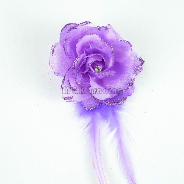 Neue gefälschte Blumen-Glitter-Puder-hübsche künstliche Blumen-Feder-Dekorations-Rhinestones Rose-Mischungs-Farben geben Schiff frei